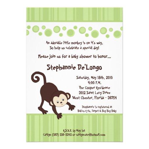 5x7 Green Pop Monkey Neutra Baby Shower Invitation Announcement