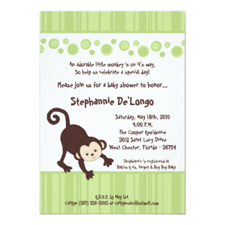5x7 Green Pop Monkey Neutra Baby Shower Invitation