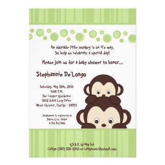 5x7 Green Pop Monkey Neutra Baby Shower Invitation Personalized Invite
