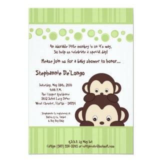 "5x7 Green Pop Monkey Neutra Baby Shower Invitation 5"" X 7"" Invitation Card"