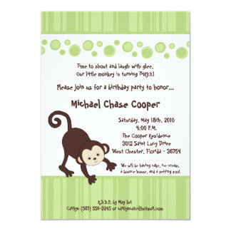 5x7 Green Pop Monkey Neutral Birthday Invitation