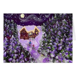 5X7 Greeting Card: Lantern Ski by Lucie Bergeron Greeting Card