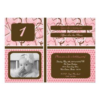 5x7 Heart PolkaDot Photo Birthday Party Invitation