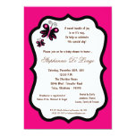 5x7 Hot Pink Butterfly Baby Shower Custom Invitation