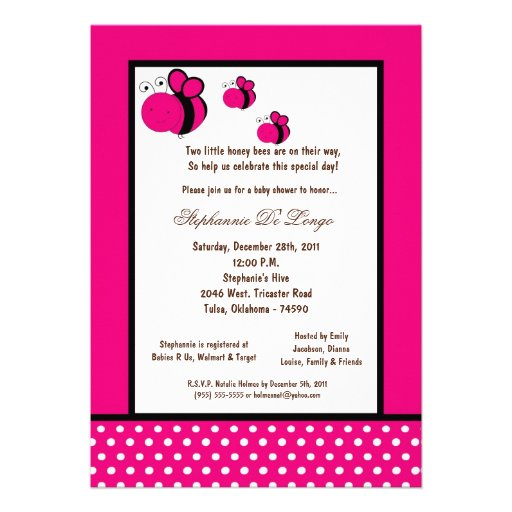 5x7 Hot Pink Honey Bee Baby Shower Announcements