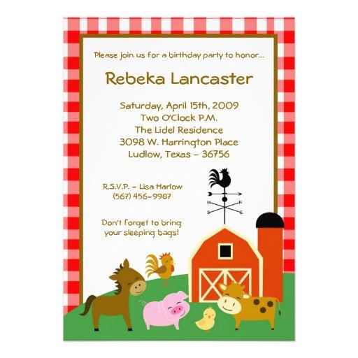 5x7 Invite - Farm Animals Birthday Invitation