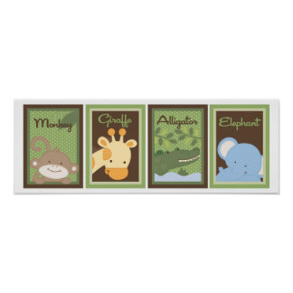5x7 Jungle Safari Zoo Animal Baby Bedding Wall Art