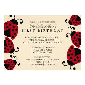 5x7 Ladybug Birthday Party Invitation