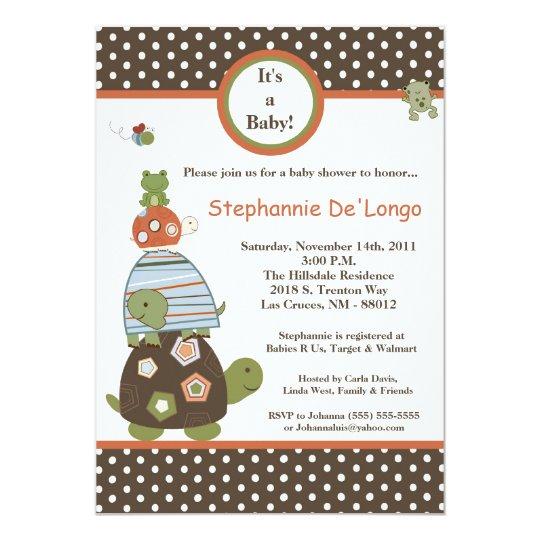 5x7 Laguna Turtle Frog Bee Baby Shower Invitation