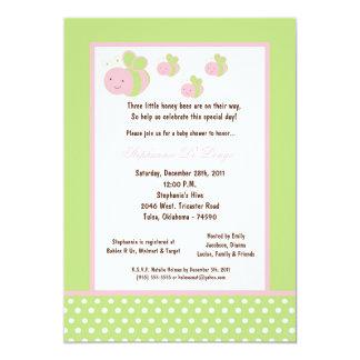 5x7 Light Green Honey Bee Baby Shower Custom Invitation