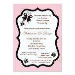 5x7 Light Pink Butterfly Baby Shower Custom Announcements