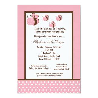 5x7 Light Pink Honey Bee Baby Shower Custom Invite
