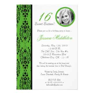 5x7 Lime Green Damask 16 Birthday Party Invitation
