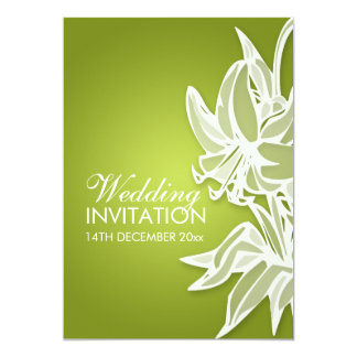 5x7 Lime Lily Bouquet Elegant Wedding Invitation