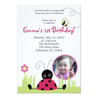 5x7 Little Ladybug *PHOTO* Spring Birthday 13 Cm X 18 Cm Invitation Card