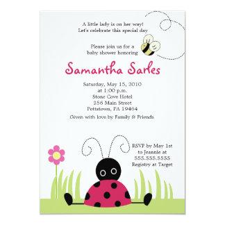 "5x7 Little Ladybug Spring Baby Shower Invitation 5"" X 7"" Invitation Card"