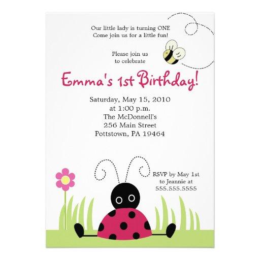 5x7 Little Ladybug Spring Birthday Invitation