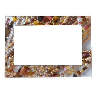 5x7 Magnetic Picture Frame- Earthtones Beads Print Magnetic Picture Frame