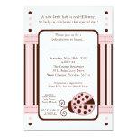 5x7 Modern Mod Pink LadyBug Baby Shower Invitation