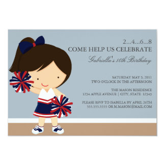5x7 Navy/Red Cheerleader Birthday Party Invite