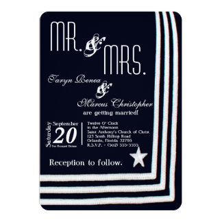 5x7 Navy Summer Dress Blues Wedding Invitation