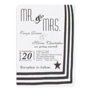 5x7 Navy Summer Dress Whites Wedding Invitation