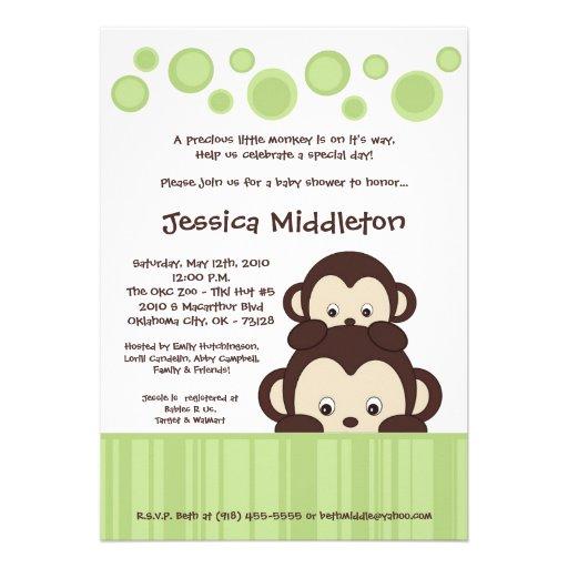 5x7 neutra baby pop monkey baby shower invitation 5 x 7 invitatio