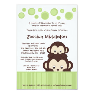 5x7 Neutra Baby Pop Monkey Baby Shower Invitation