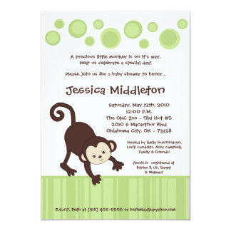 5x7 Neutra Pop Monkey Dance Baby Shower Invitation