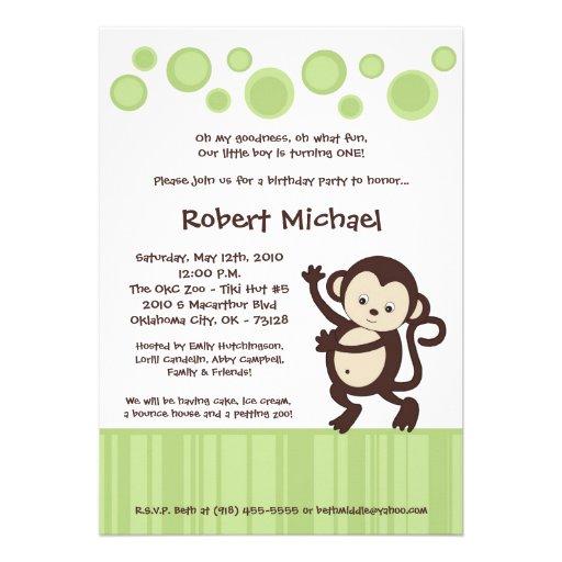5x7 Neutra Pop Monkey Dance Birthday Invitation
