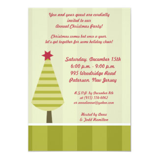 """5x7 Olive Green Striped Tree Invitation 5"""" X 7"""" Invitation Card"""