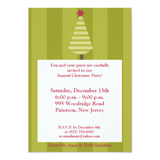 5x7 Olive Green Striped Tree Invitation