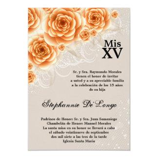 5x7 Orange Roses Quinceanera Birthday Invitation