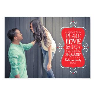 5x7 Peace, Love & Joy Frame Photo Card 13 Cm X 18 Cm Invitation Card