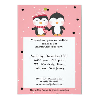 5x7 Penguin Cuties Polka Dots Invitation