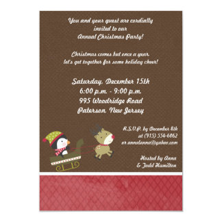5x7 Penguin / Reindeer Christmas Games Invitation