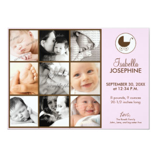 5x7 Photo Collage Pink Baby Birth Announcement