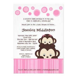 5x7 Pink Baby Pop Monkey Baby Shower Invitation