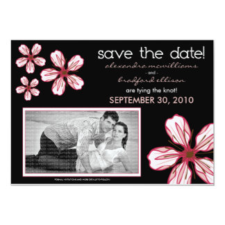 "5x7 Pink Cherry Blossom Save the Date Announcement 5"" X 7"" Invitation Card"