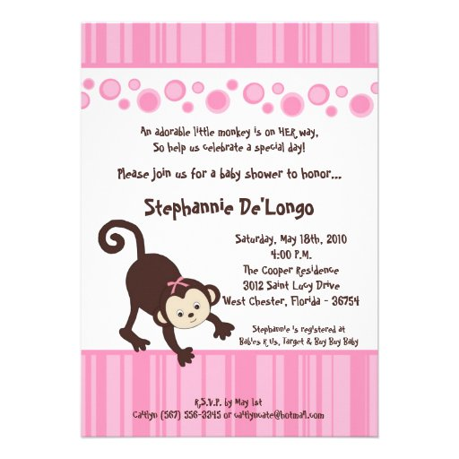 5x7 :Pink Girl Pop Monkey Baby Shower Invitation Personalized Announcement