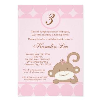 5x7 Pink Girly PolkaDot Monkey Birthday Invitation