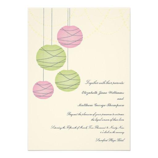 5x7 Pink & Green Paper Lanterns Day Wedding Invite