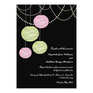 5x7 Pink & Green Paper Lanterns Wedding Invite