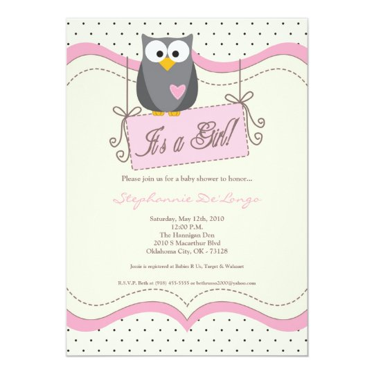 5x7 Pink Hoot Owl Woodland Baby Shower Invitation