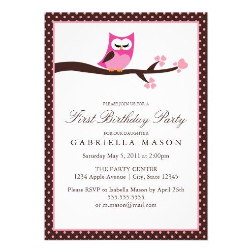 5x7 Pink Owl Birthday Party Invite