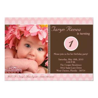 5x7 Pink Polka dot Photo Birthday Party Invitation