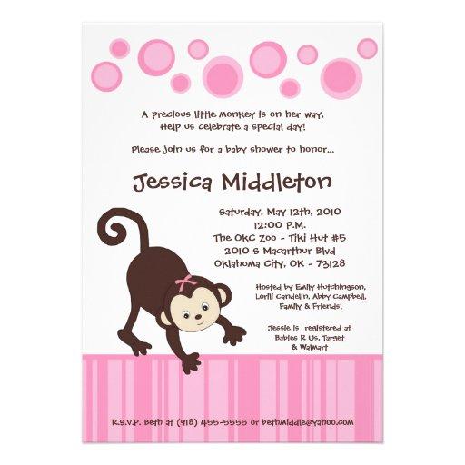 5x7 Pink Pop Monkey Dance Baby Shower Invitation