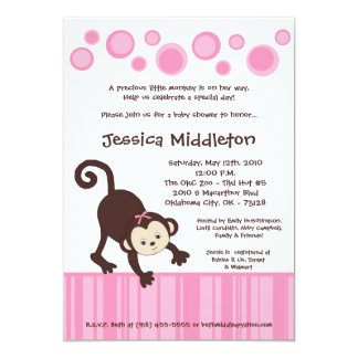 5x7 Pink Pop Monkey Dance Baby Shower Invitation