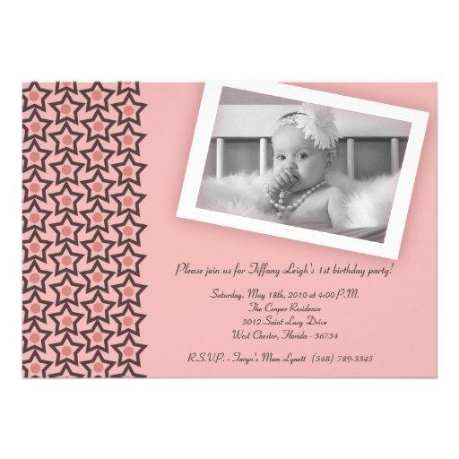 5x7 Pink Star Photo Birthday Party Invitation