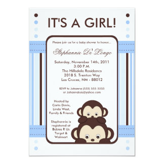 5x7 Pop Monkey Blue Jungle Baby Shower Invitation